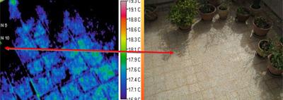 תוצאות ממצלמה טרמית לאיתור נזילות ברצפה